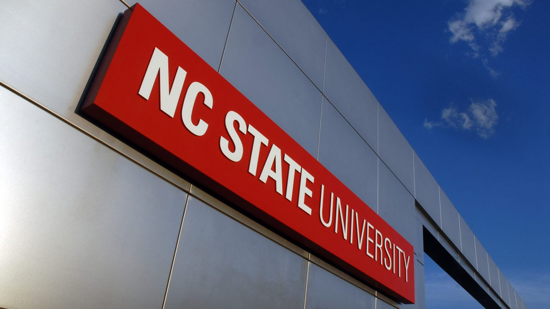 University sign on campus