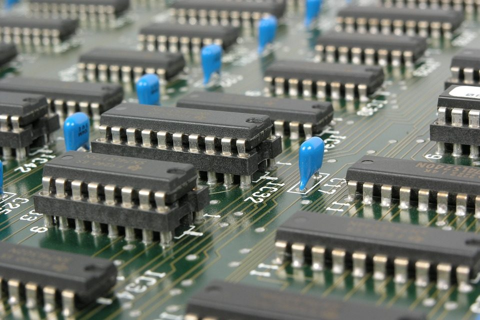 Close up view of motherboard