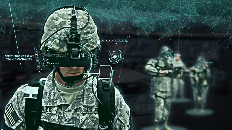 Soldier using tech helmet