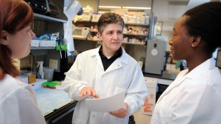 Dr. Matthew Breen works with students in his lab