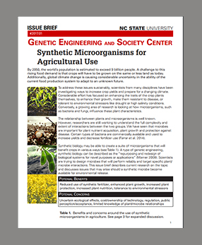Issue Brief: Synthetic Microorganisms for Agriculture Use 2017.01