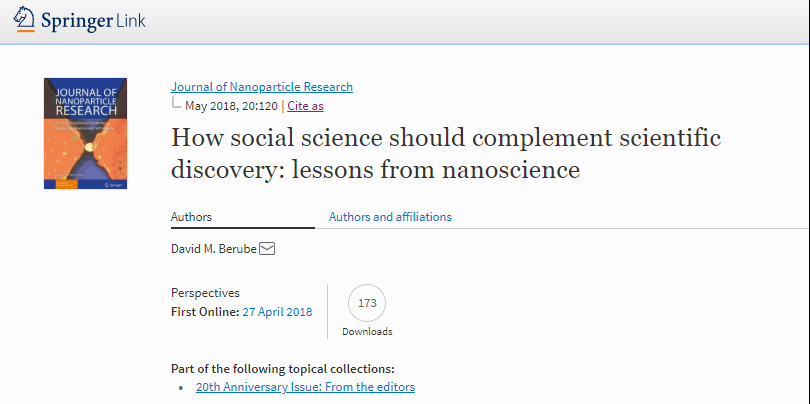 Publication: How social science should complement scientific discovery: lessons from nanoscience
