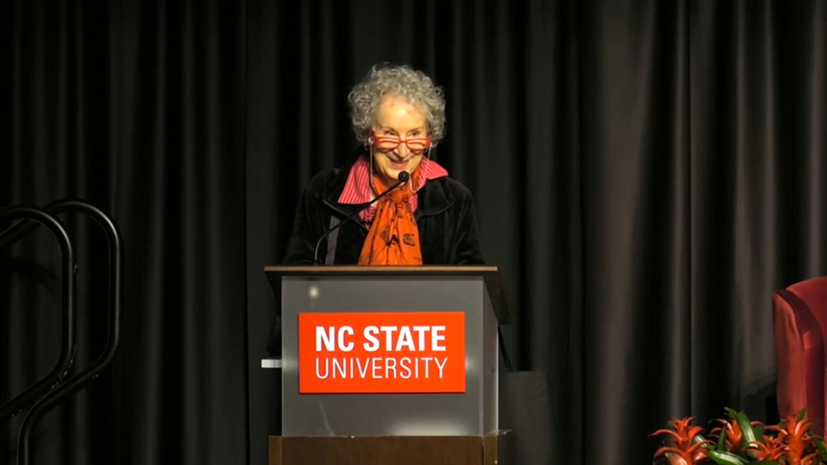 Margaret Atwood giving keynote talk at Talley Student Union
