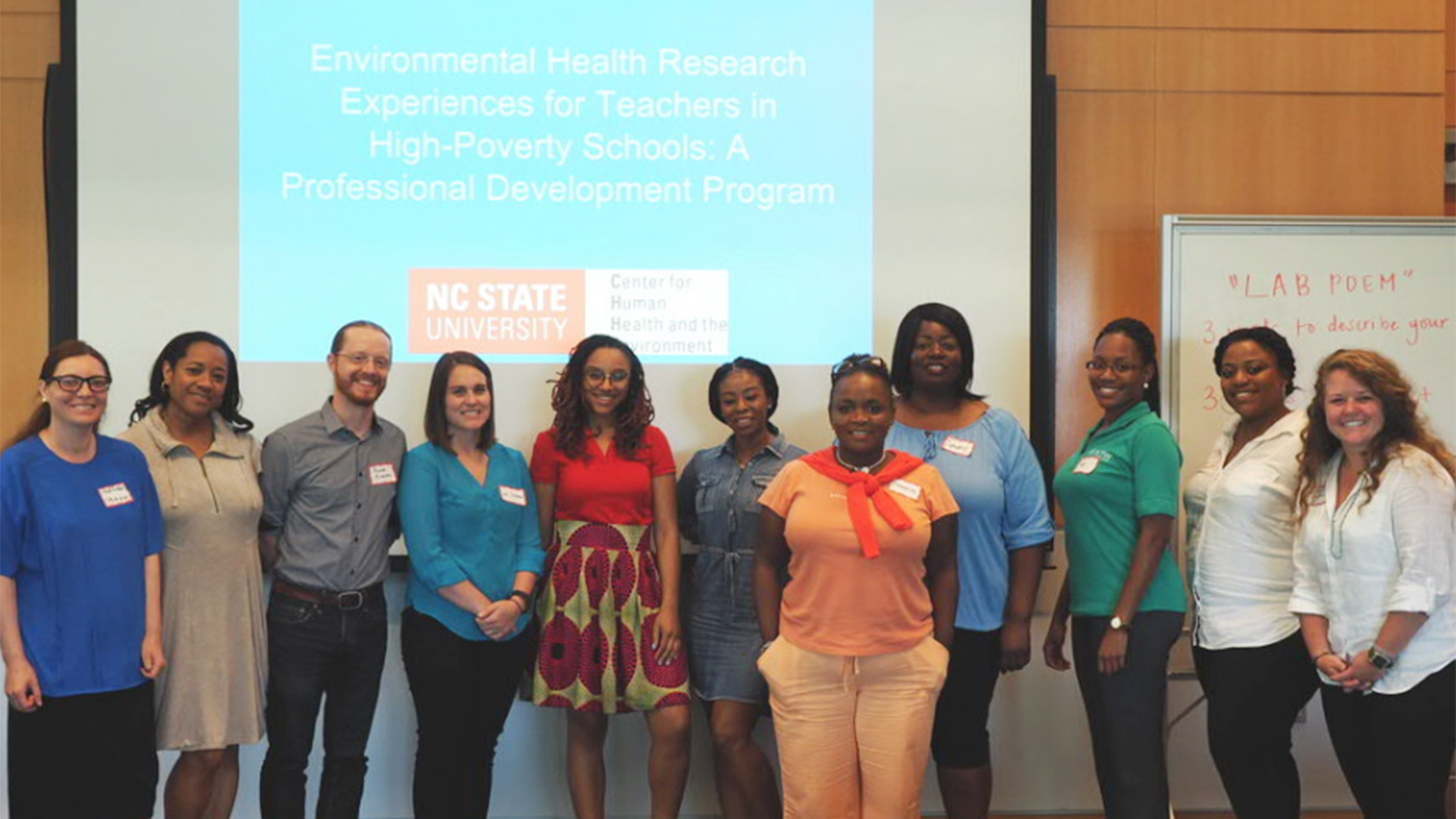 Photo of the first group of participants of a new professional development initiative to help science teachers gain research experience.