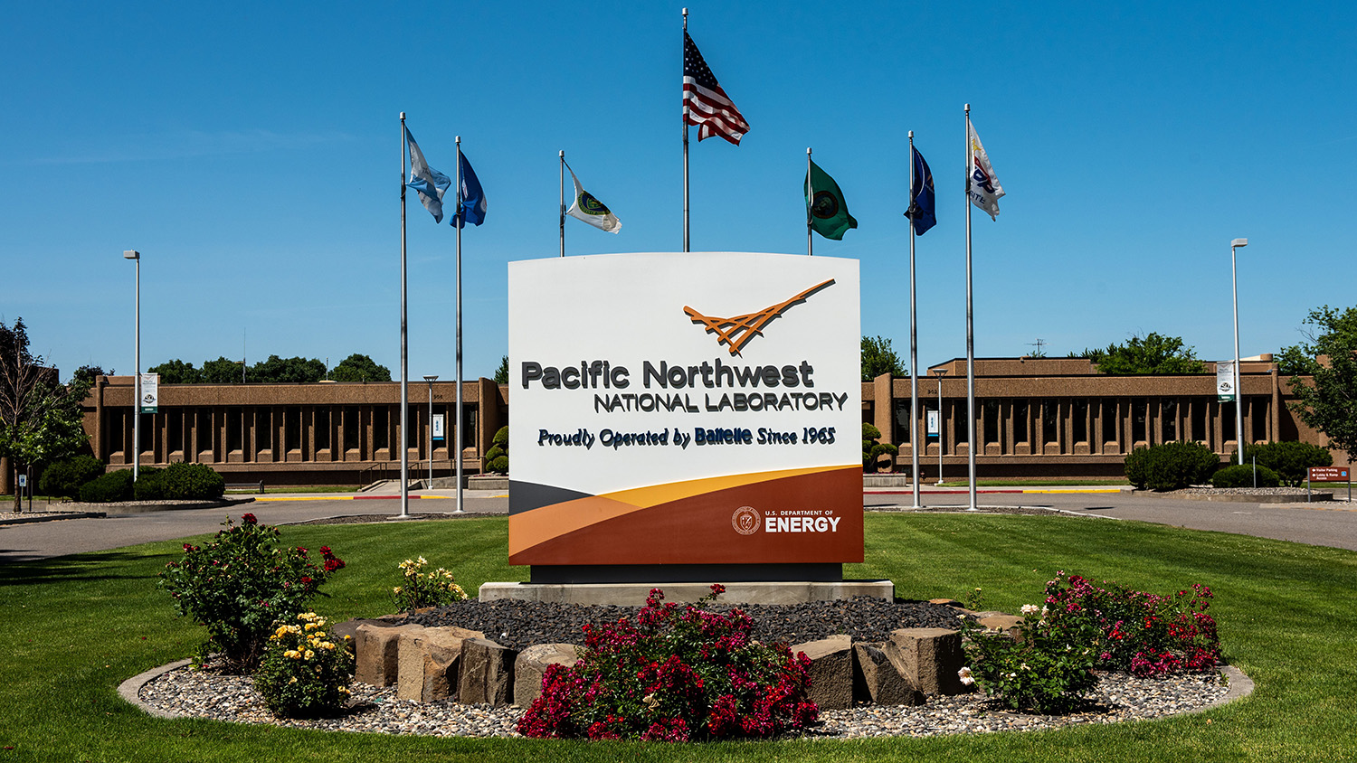 A sign at the entrance to the Pacific Northwest National Laboratory.