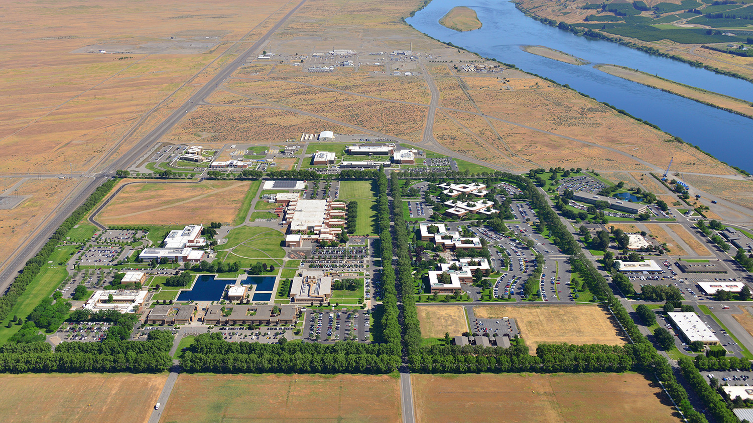 An aerial view of the Richland Campus at the Pacific Northwest National Laboratory.