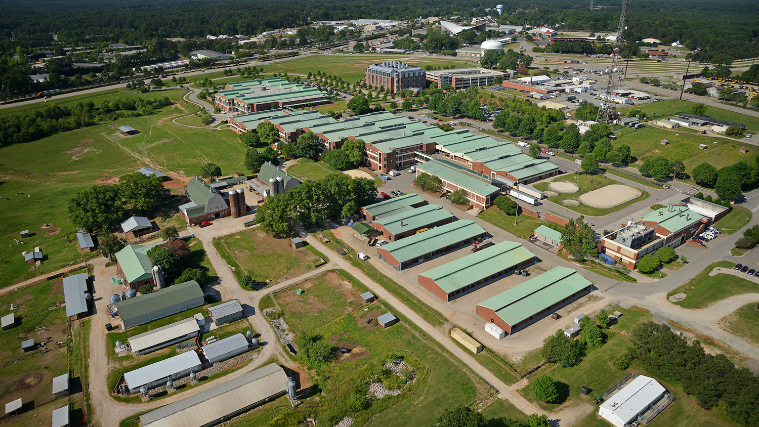 An aerial view of NC State's College of Veterinary Medicine.