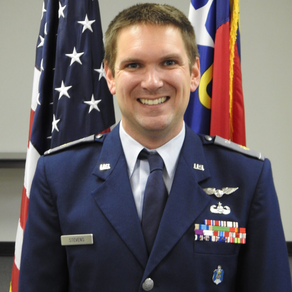 A headshot of Scott Stevens, in his full-dress Civil Air Patrol uniform