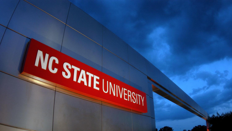 NC State gateway at sunset