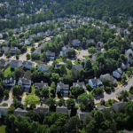 Aerial view of neighborhood homes in the southern part of Raleigh