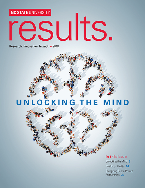"Cover of newest issue of results. Title is ""Unlocking the Mind"""