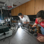 Dr. Michael Kudenov and graduate student work in Optical Sensing Lab.